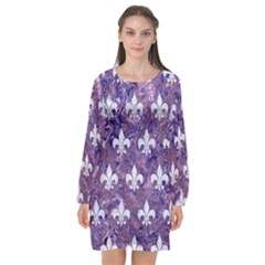 Royal1 White Marble & Purple Marble (r) Long Sleeve Chiffon Shift Dress  by trendistuff