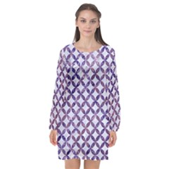 Circles3 White Marble & Purple Marble (r) Long Sleeve Chiffon Shift Dress  by trendistuff