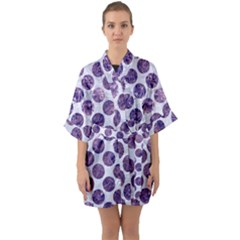 Circles2 White Marble & Purple Marble (r) Quarter Sleeve Kimono Robe by trendistuff