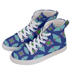 Blue Green Purple Lilac Geometric 59 Women s Hi-top Skate Sneakers by CircusValleyMall