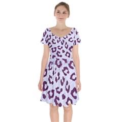 Skin5 White Marble & Purple Leather Short Sleeve Bardot Dress