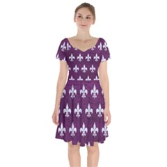 Royal1 White Marble & Purple Leather (r) Short Sleeve Bardot Dress by trendistuff