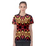 Flaming Hot Orange Yellow Black 1 Women s Sport Mesh Tee