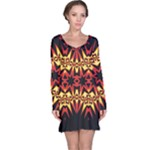 Flaming Hot Orange Yellow Black 1 Long Sleeve Nightdress