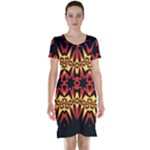 Flaming Hot Orange Yellow Black 1 Short Sleeve Nightdress