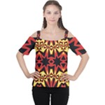 Flaming Hot Orange Yellow Black 1 Cutout Shoulder Tee
