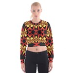 Flaming Hot Orange Yellow Black 1 Cropped Sweatshirt