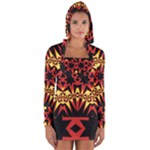 Flaming Hot Orange Yellow Black 1 Long Sleeve Hooded T-shirt