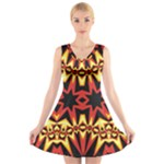 Flaming Hot Orange Yellow Black 1 V-Neck Sleeveless Skater Dress