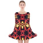 Flaming Hot Orange Yellow Black 1 Long Sleeve Velvet Skater Dress