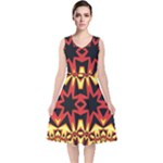 Flaming Hot Orange Yellow Black 1 V-Neck Midi Sleeveless Dress