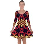 Flaming Hot Orange Yellow Black 1 Quarter Sleeve Skater Dress