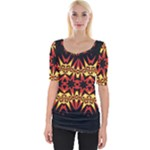 Flaming Hot Orange Yellow Black 1 Wide Neckline Tee