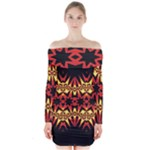 Flaming Hot Orange Yellow Black 1 Long Sleeve Off Shoulder Dress