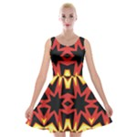 Flaming Hot Orange Yellow Black 1 Velvet Skater Dresses