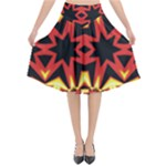 Flaming Hot Orange Yellow Black 1 Flared Midi Skirt