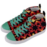 Flaming Hot Orange Yellow Black 1 Women s Mid-Top Canvas Sneakers
