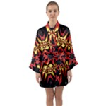 Flaming Hot Orange Yellow Black 1 Long Sleeve Kimono Robe