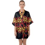 Flaming Hot Orange Yellow Black 1 Quarter Sleeve Kimono Robe