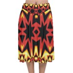 Flaming Hot Orange Yellow Black 1 Velvet Flared Midi Skirt