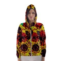 Sunflowers In Elizabeth House Hooded Wind Breaker (women)