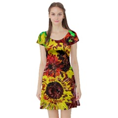Sunflowers In Elizabeth House Short Sleeve Skater Dress by bestdesignintheworld