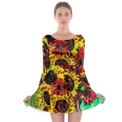 Sunflowers In Elizabeth House Long Sleeve Skater Dress by bestdesignintheworld