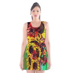 Sunflowers In Elizabeth House Scoop Neck Skater Dress by bestdesignintheworld