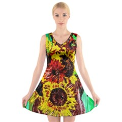 Sunflowers In Elizabeth House V Neck Sleeveless Skater Dress by bestdesignintheworld