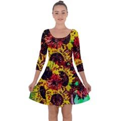 Sunflowers In Elizabeth House Quarter Sleeve Skater Dress by bestdesignintheworld