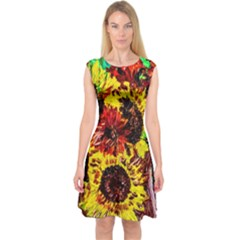 Sunflowers In Elizabeth House Capsleeve Midi Dress by bestdesignintheworld