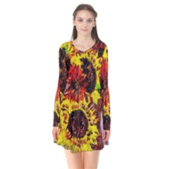 Sunflowers In Elizabeth House Flare Dress by bestdesignintheworld