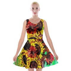 Sunflowers In Elizabeth House Velvet Skater Dresses by bestdesignintheworld