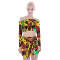 Sunflowers In Elizabeth House Off Shoulder Top With Mini Skirt Set by bestdesignintheworld