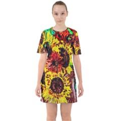 Sunflowers In Elizabeth House Sixties Short Sleeve Mini Dress by bestdesignintheworld