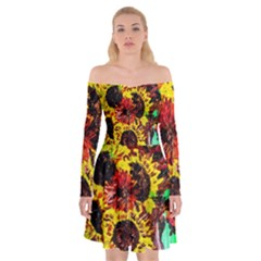 Sunflowers In Elizabeth House Off Shoulder Skater Dress by bestdesignintheworld