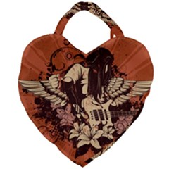 Rock Music Moves Me Giant Heart Shaped Tote