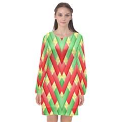 Christmas Geometric 3d Design Long Sleeve Chiffon Shift Dress  by Sapixe