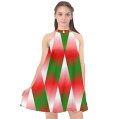 Christmas Geometric Background Halter Neckline Chiffon Dress  by Sapixe