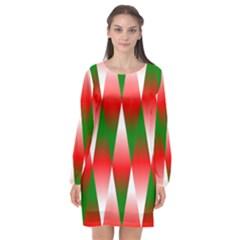 Christmas Geometric Background Long Sleeve Chiffon Shift Dress  by Sapixe