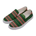 Bubbly Lines Green Pink Women s Canvas Slip Ons