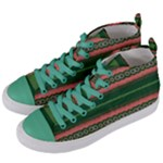 Bubbly Lines Green Pink Women s Mid-Top Canvas Sneakers