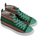 Bubbly Lines Green Pink Women s Mid-Top Canvas Sneakers View3