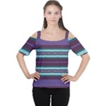 Bubbly Lines Purple Maroon Blue Cutout Shoulder Tee