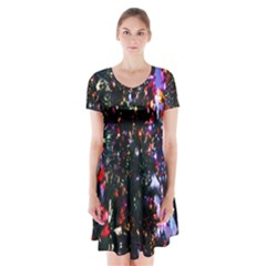 Abstract Background Celebration Short Sleeve V Neck Flare Dress by Sapixe