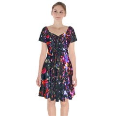 Abstract Background Celebration Short Sleeve Bardot Dress by Sapixe