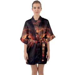Steampunk Airship Sailing The Stars Of Deep Space Quarter Sleeve Kimono Robe by jayaprime