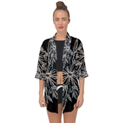 Ice Crystal Ice Form Frost Fabric Open Front Chiffon Kimono by Sapixe