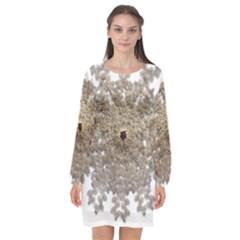 Gold Golden Gems Gemstones Ruby Long Sleeve Chiffon Shift Dress  by Sapixe