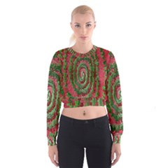 Red Green Swirl Twirl Colorful Cropped Sweatshirt by Sapixe